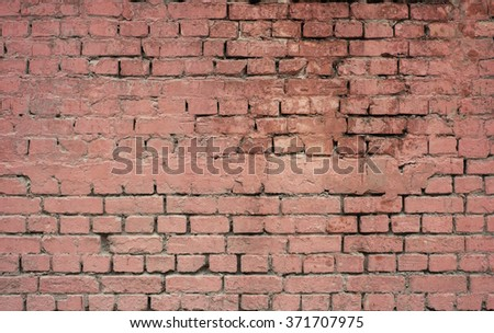 Faded red brick wall texture background. Blue shadows.  - stock photo