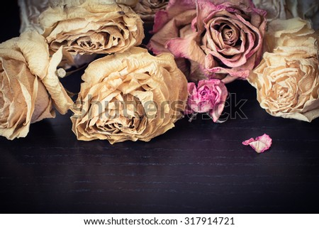 Faded roses on a wooden table close up. Vintage style effect - stock photo