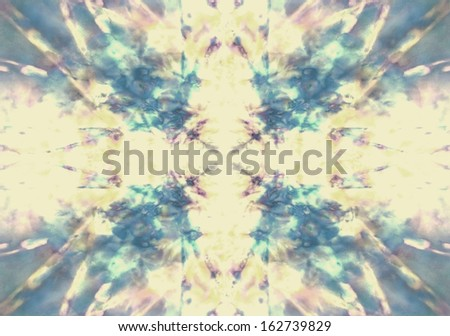 Faded yellow and blue kaleidoscope background - stock photo