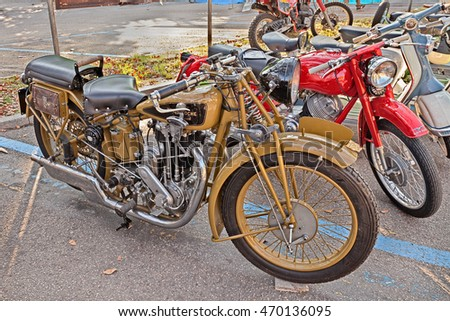 "FAENZA, ITALY - NOVEMBER 1: old swiss motorbike Motosacoche 500 cc (1930)in classic motorcycle rally during the festival ""Fiera di San Rocco"" on November 1, 2015 in Faenza, Italy"