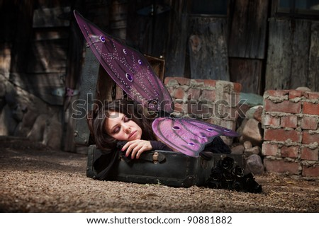 Faery in rustic scene sleeps in suitcase with black roses - stock photo