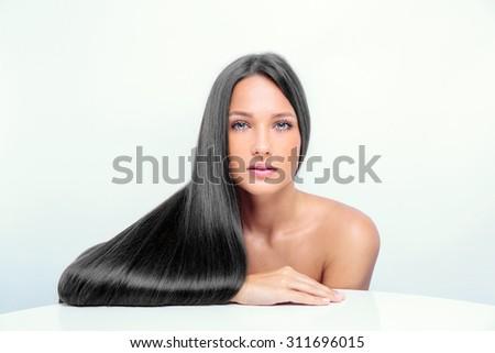 fahion model girl with long black hair. - stock photo
