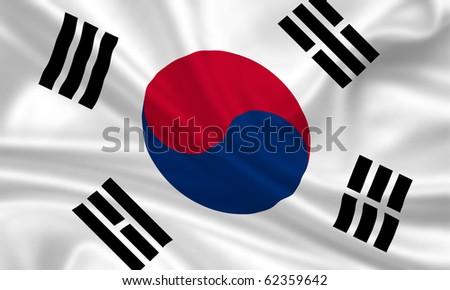 Fahne Flagge S�¼d Korea - stock photo
