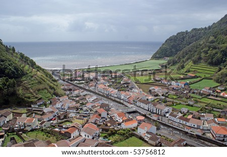 Faial da Terra which is a parish in the district of Povoacao on Sao Miguel Island in the Azores - stock photo