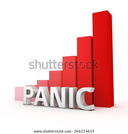 Fail over the stress and anxiety. Increasing the level of panics. The word Panic against going up red chart. 3D illustration about increase in the level of stress in our lives - stock photo