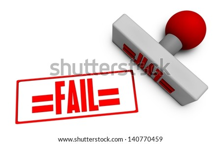 Fail Stamp or Chop on Paper Concept in 3d - stock photo