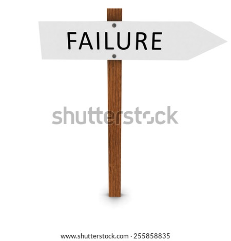Failure Arrow Sign Pointing Right - stock photo
