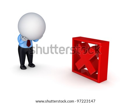 Failure concept.Isolated on white background.3d rendered. - stock photo