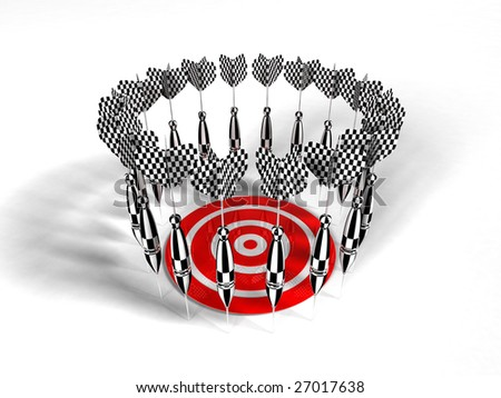 Failure (Red and White target with many arrow) - stock photo