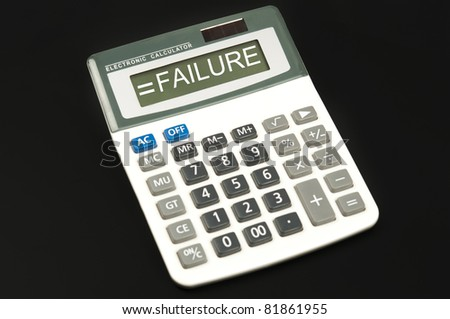 Failure word on electronic calculator - stock photo