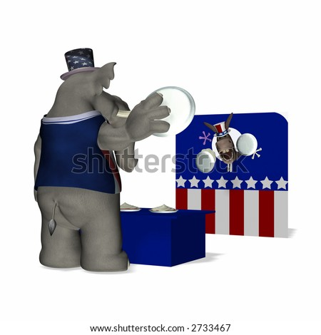 Fair game - Pie Throw.  Republican tossing pies at the Democrat competition. Political humor. - stock photo