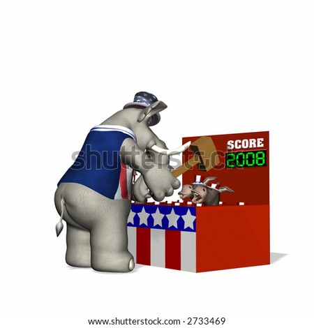 Fair game.  Whack-a-Donkey. Political humor. - stock photo