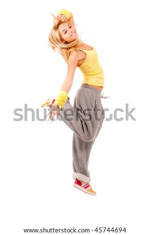Fair-haired girl on occupations by gymnastics, is isolated on white background. - stock photo