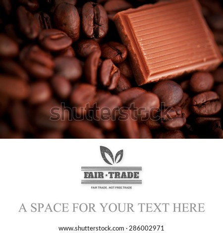 fair trade stamp against piece of chocolate and coffee seeds together - stock photo
