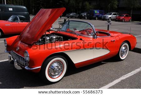 FAIRBANKS, AK - JUNE 19: 1957 Chevy Corvette, 2010 Alaska Midnight Sun Cruise-In Auto Show June 19, 2010 in Fairbanks, Alaska - stock photo