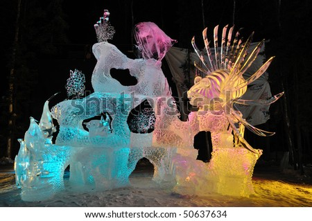 """FAIRBANKS, AK - MARCH 9:  """"Saltwater Safari"""" Ice Sculpture, 2010 World Ice Art Championships March 9, 2010 in Fairbanks, Alaska - stock photo"""