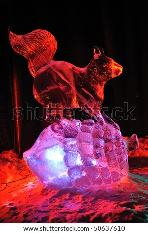 "FAIRBANKS, AK - MARCH 9: ""Squirrel"" Ice Sculpture, 2010 World Ice Art Championships March 9, 2010 in Fairbanks, Alaska - stock photo"