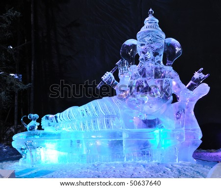 "FAIRBANKS, AK - MARCH 9:  ""There's No Place Like Om"" Ice Sculpture, 2010 World Ice Art Championships March 9, 2010 in Fairbanks, Alaska - stock photo"