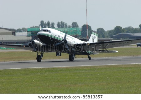FAIRFORD, UK - JULY 16: DC-3 on landing  during the Royal International Air Tattoo on July 16, 2005 in Fairford, UK. - stock photo