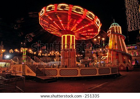Fairground at Night, Glasgow - stock photo