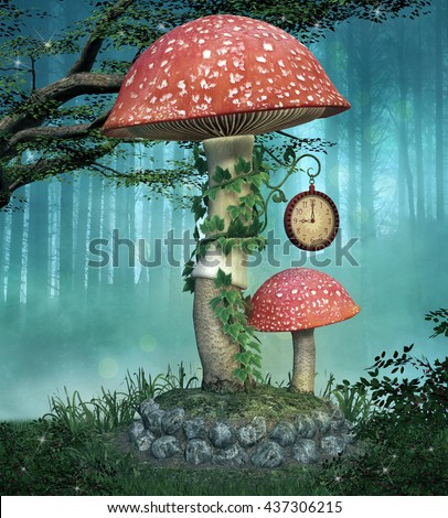 Fairies mushroom - 3D illustration - stock photo