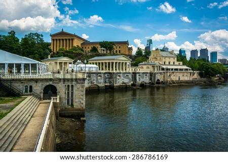 Fairmount Water Works and the Art Museum, in Philadelphia, Pennsylvania. - stock photo