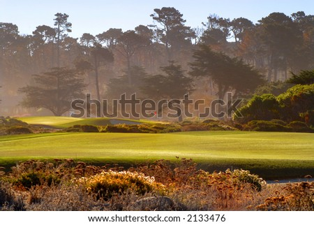 Fairway view of golf course in Pebble Beach California bathed in sunlight - stock photo