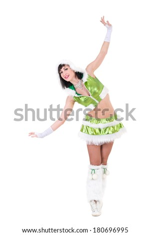 Fairy. Beautiful Girl in green dress. Magic. Isolated on white background in full length. - stock photo