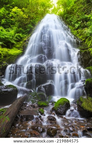 Fairy Falls in the Columbia River Gorge - stock photo