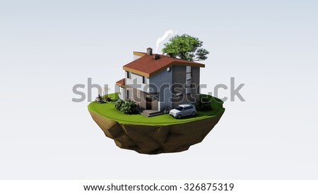 Fairy flying island with modern house, car, threes and relaxing people. - stock photo