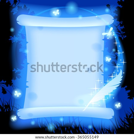Fairy glowing in blue light parchment with luminescent butterflies and magic pen against a background of forest in night - stock photo