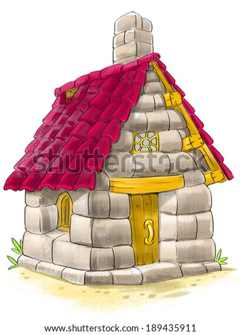 Fairy house of bricks, tile and stones from Three Little Pigs fairy tale - stock photo