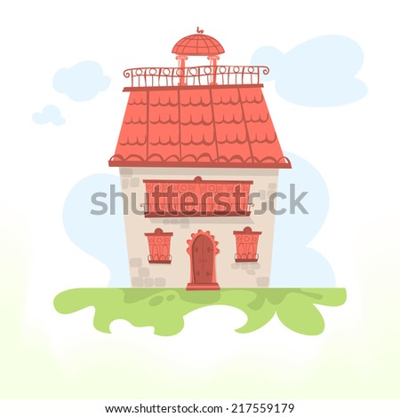 Fairy house with a tiled roof and a cockerel - stock photo