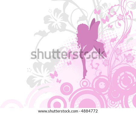 Fairy in pink garden (vector format also available in my gallery) - stock photo