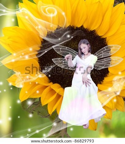 fairy in the garden - stock photo