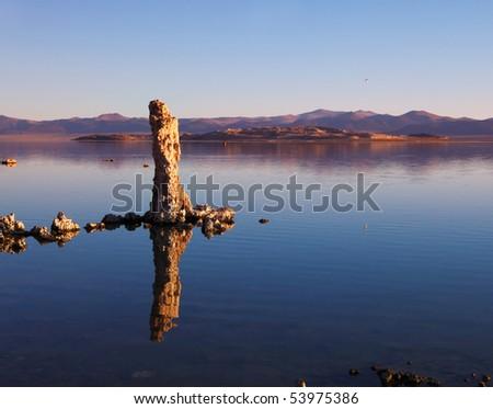 Fairy Mono Lake with a fantastic reef-Tufa. - stock photo