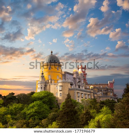 Fairy Palace against beautiful sky /  Panorama of Pena National Palace in Sintra, Portugal / Europe - stock photo