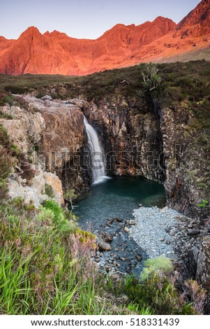 Fairy Pools at Glenbrittle at the foot of the Black Cuillin Mountains, Isle of Skye