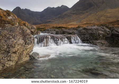 Fairy Pools in Glen Brittle,Isle of Skye, In back ground part of the Cuillin Ridge