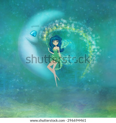 fairy sitting on the moon - stock photo
