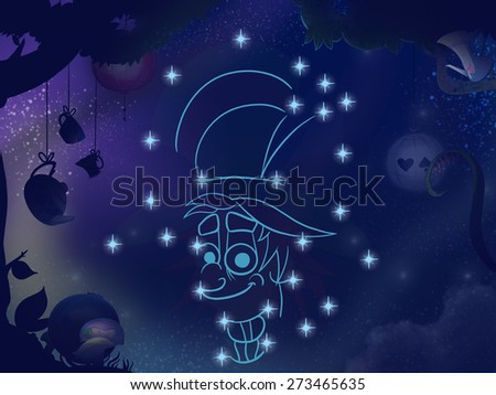 Fairy tale astronomy. Kids book digital background raster illustration. Hatter constellation.