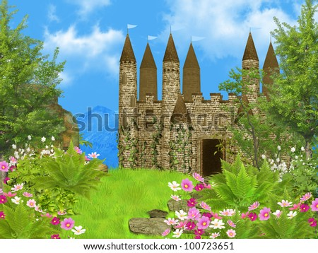 fairy tale castle - stock photo