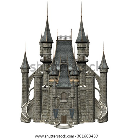 Fairy Tale Castle - 3D Rendered Fantasy Building - stock photo