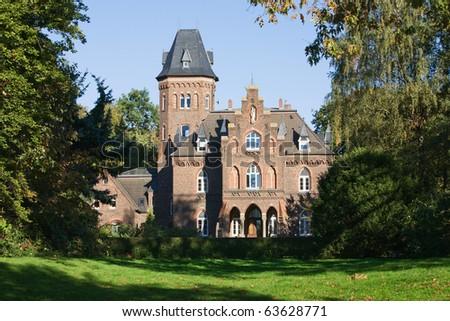 Fairy tale castle in Marienburg Park, Monheim on the Rhine, North Rhine-Westphalia, Germany - stock photo