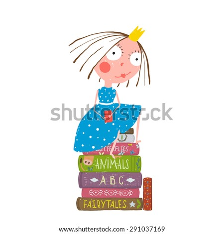Fairy Tale Clever Princess Sitting on Stack of Books Reading. Childhood brightly colored funny hand drawn cute illustration for children education. Raster variant. - stock photo