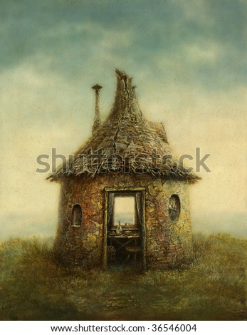 Fairy tale house, painted with acrylic on paper - stock photo