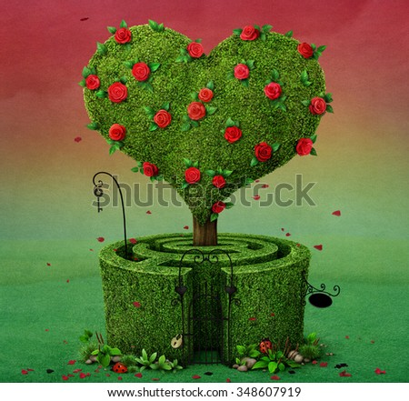 Fairy tale illustration with  flowering tree in  shape of  heart and  labyrinth.  - stock photo