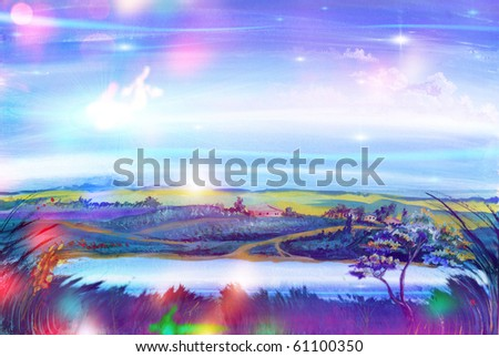 Fairy-tale landscape. Kind on the river and the country. - stock photo