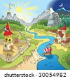 Fairy tale landscape, wonder land with castle and town, cartoon illustration - stock photo