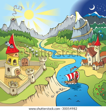 Fairy tale landscape, wonder land with castle and town, cartoon illustration